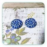 Cabuchón Cristal Flor azul marino geométrica new*