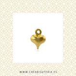 Charm minicorazón de cobre dorado libre de cadmio  9x6mm C39 (20 unidades)