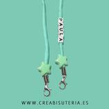 Producto acabado - Cordón  para mascarilla cordón escalada aguamarina y estrellas - Personalizado con nombre (cubitos acrílicos)