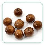 Madera abalorio redondo madera marrón (10 unidades) C872