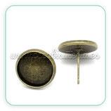 Pendiente base camafeo botón bronce antiguo cabuchón 12mm (Un par) ACCBAS-C19580 (10 pares)