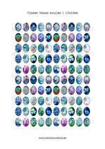 100 Imágenes de Flores en tonos Azules I 13x18mm