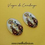 Cabuchón Cristal Religión - Virgen de Covadonga - tono dorado