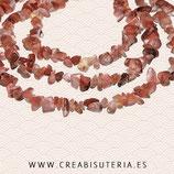 Abalorio piedra ágata rosa chips 4/6/7mm una tira