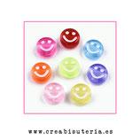 Bolsita Smileys - emoticonos acrílicos colores semistransparentes sonrisa  10mm - 50 unidades