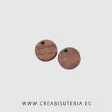 Madera colgante redondo  madera nogal natural 14mm   M009  (10 unidades)