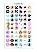 60 gráficos de perros sobre color 20mm