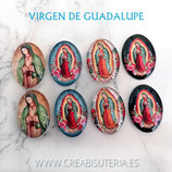 Cabuchón Cristal Religión - Virgen de Guadalupe México Lote 4 pares 4 modelos (8 piezas)