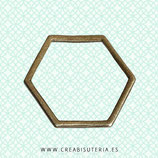 Aro poligonal 6 lados -  bronce viejo   (20 unidades)