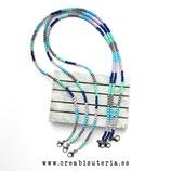 Producto acabado - Cordón para mascarilla -  abalorios acrílicos minis (4mm) modelo Surfer - Azules -  MLM014