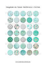35 Imágenes de estampados tela tonos verde-azul 25x25mm
