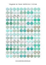 140 Imágenes de estampados tela tonos verde-azul 14x14mm