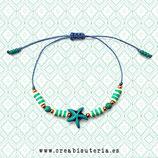 Pulsera acabada /  Estrella de mar color azul + Katsuki y cordón azul