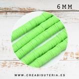 Abalorio arcilla Katsuki polimérica redondo plano 40cm  6mm (330 unidades apro) verde pistacho