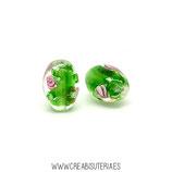 Abalorio cristal de murano oval flor verde 14x10mm  (hecho a mano)C15154 (10 unidades aprox.)
