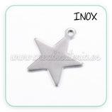 INOX - colgante estrella mediana inox 20mm P033 (10 unidades)