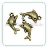 "CHARM MARINO -   ""Delfín"" bronce viejo (5 unidades) CHAOOO-C02036"