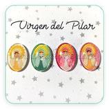 Cabuchón Cristal Religión - Virgen del Pilar infantil (4 unidades en 4 colores)