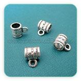 Entrepieza con ASA - EA009-  plata vieja tubo con dibujo estrellas y con asa (15 unidades) ENTOOO-C02837