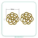 CONECTOR/A/ 042 Flor-espiral oro viejo-C01B (10 unidades)