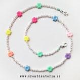 Producto acabado - Cordón para mascarilla Infantil  -  abalorios acrílicos (4mm) modelo Florecillas&perlas MLM012