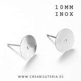 INOX - Pendiente base botón 10mm lisa  ACERO INOX   P00710mm  (20 pares)