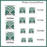 Imagen monotema cuadrada ornamento flor-corazón verde azulado 004