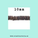 Abalorio de  de coco 10mm  tono marrón oscuro  en forma de disco tubo plano  -90unidades aprox.   C03