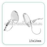 Pendiente camafeo clip oval plateado 13x18 (Un par)