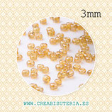 Abalorios -  Cristal de colores, rocalla 3mm  - dorado transparente - ámbar -  20gr R006-3mm