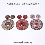 CABUCHÓN CRISTAL  MANDALA - Lote conjunto 25+12+12mm x 3 unidades M17895