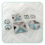Cabuchón ilustrado M Azulejo  tonos pastel azul gris new*