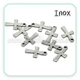 INOX - Cruz mini 12x7mm acero inoxidable C19129 (10 unidades)