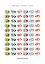 60 Muñequitas colores 18x25mm