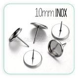 INOX - Pendiente base camafeo botón INOX cabuchón 10mm  (4 pares)