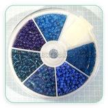 Abalorios -  Cajita redonda 6 tonos de color azul 2mm