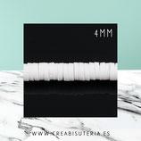 Abalorio arcilla Katsuki polimérica redondo plano 4MM Blanco (46cm de largo apro)