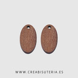 Madera colgante ovalado  madera nogal natural 20x11mm  modelo alargado  M007  (10 unidades)
