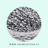 Abalorios -  Cristal de colores, rocalla irregular  - plateado electrochapado -  20gr Q005