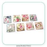 Lote- cabuchones cuadrados 25mm flores vintage 8 modelos