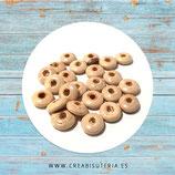 Madera abalorio  pequeño donuts redondeado  plano  de color madera natural  11x4mm (50 piezas aprox) C98