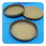 """Base Camafeo """"corona"""" sin anilla 30x30mm bronce viejo CAMBAS-C01"""