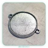 Camafeo conector bordecito cuadraditos  25mm plata vieja CAMBAS-PQ038
