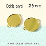 Camafeo conector liso  25mm tono oro  DOBLE CARA CAMBAS-C72643 (5 unidades)