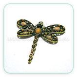 Colgante libélula mediana COLOR beis y dorado  Y METAL DORADO COLOOO-RCE2070
