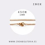 INOX - Cadena con cierre inox chapado en oro finita 1mm  corta 45cm  Inox 204F
