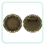 Broche camafeo ornamental 25mm bronce viejo BROOOO-C45462