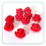 Cabuchón Resina Flor color rojo 10x10mm (10 unidades)