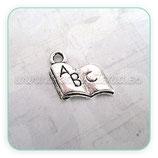 Charm libro mini A B C plata vieja CHAOOO-C217 (10 unidades)
