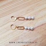 Bisutería acabada- Pendientes acero inox dorado - 3 cuentas perla natural y eslabón inox